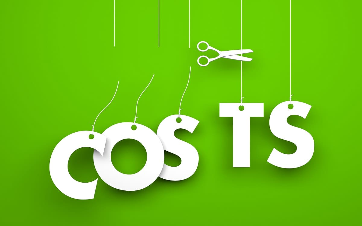 """Symbolizes discounts and prices drop. White word """"costs"""" suspended by ropes on green background"""